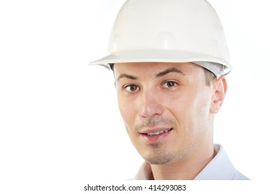 portrait of young engineer with hardhat isolated on white