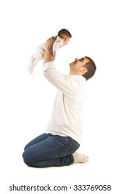 Portrait of young father holding his little child isolated on white background