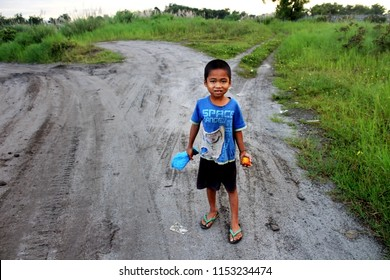 Portrait of A Young Filipino Boy. Little Native Filipino Child. Taken At General Santos City Last February 2018