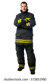 portrait of a young firefighter in dirty work clothes isolated on white background