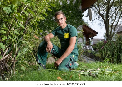 portrait of  young gardener at work