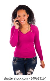 Portrait Of Young Girl african Talking On phone  isolated