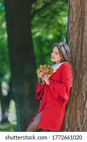Portrait of young girl in the autumn weather in warm clothes near tree, holding a bundle of leaves.