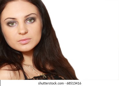 Portrait of the young girl with beautiful eyes and charming appearance