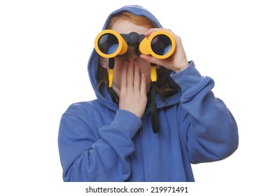 Portrait of a young girl with binoculars on white background