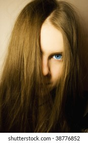 Portrait of young girl with blue eyes