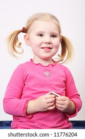 portrait young girl childhood blonde hair caucasian