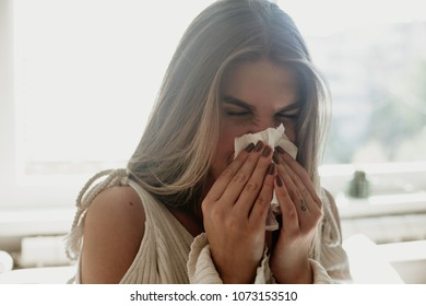 Portrait of a young girl dealing with season allergies