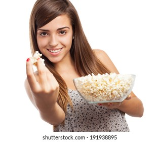 portrait of young girl eating pop corn