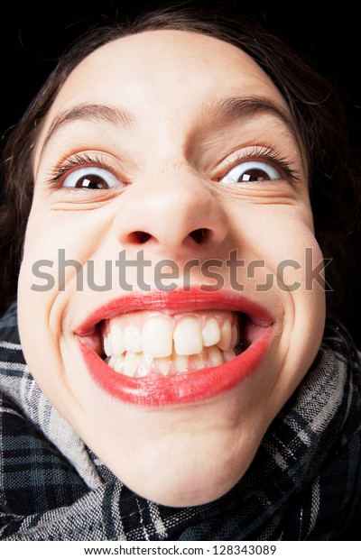 Portrait Young Girl Evil Smile Stock Photo (Edit Now) 128343089