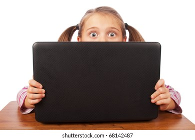 Portrait of a young girl with laptop isolated on white background