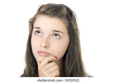 Portrait of the young girl on the isolated white background