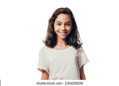 Portrait of young girl on white background