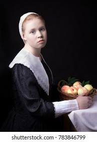 Portrait of a young girl with peaches after a 17th century painting by Albert Cuyp.