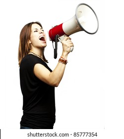 portrait of young girl shouting with megaphone over white background