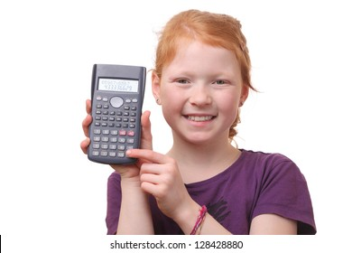 Portrait of a young girl student with calculator on white background