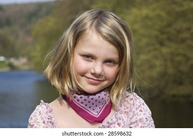 Portrait of young girl at sunset