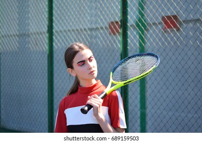 Busty Asian Playing Tennis