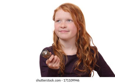 Portrait of a young girl with torch light on white background