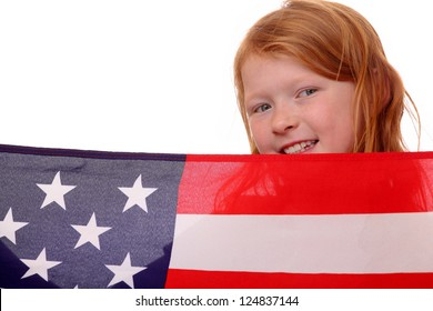 Portrait of a young girl with USA flag