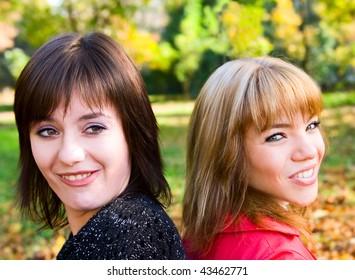 Portrait young girls outdoor