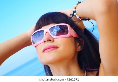 portrait of a young gorgeous female in summer environment