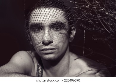Portrait of a young handsome man closeup