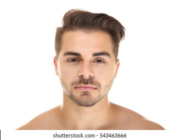 Portrait of young handsome man on white background