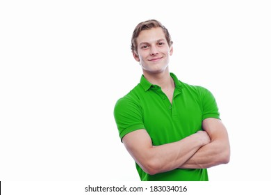 Portrait of a young handsome man wearing green t-short isolated on white background