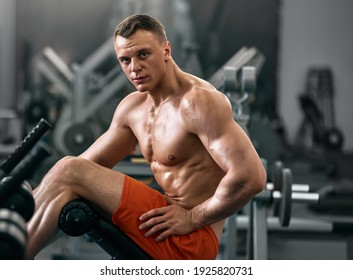 Portrait of young handsome smiling muscular athlete resting in gym