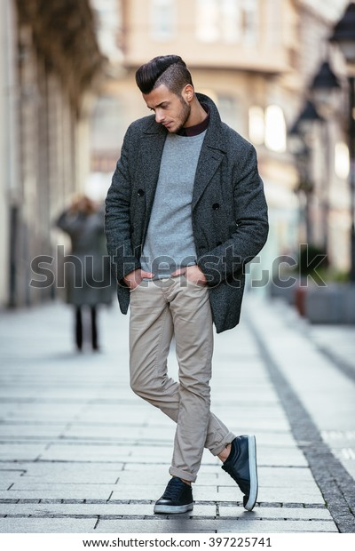 Portrait Young Handsome Stylish Man Elegant Stock Photo