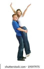 Portrait of young happy couple. Isolated on a white background.