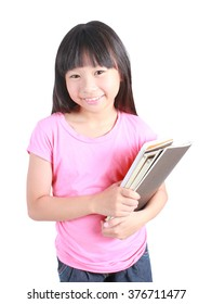 Portrait of young happy girl with book