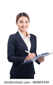 Portrait of young happy smiling asian business woman with blue folder, isolated on white background