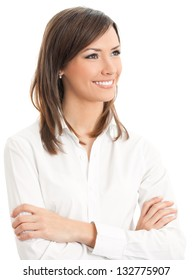 Portrait of young happy smiling business woman, isolated over white background
