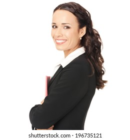 Portrait of young happy smiling business woman with red folder, isolated on white background