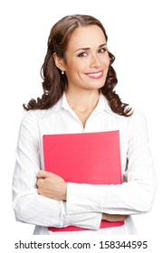 Portrait of young happy smiling businesswoman with red folder, isolated over white background