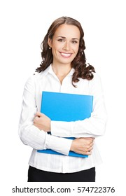 Portrait of young happy smiling businesswoman with blue folder, isolated against white background. Success in business, job and education concept studio shot.