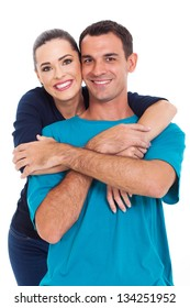 portrait of young happy smiling couple isolated over white background
