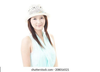Portrait of young happy smiling woman