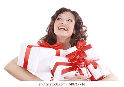 Portrait of young happy smiling woman hold  gift boxes