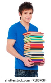 portrait of young happy student with books. isolated on white background