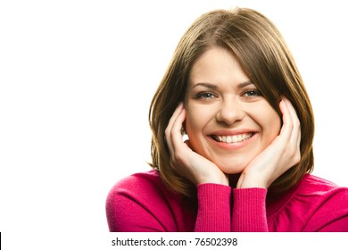 Portrait of young happy woman casual dressed, big natural smile, beautiful model posing in studio over white background . Isolated on white. Light make-up without strong retouching natural skin.