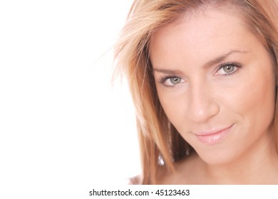 Portrait of a young happy woman over white background