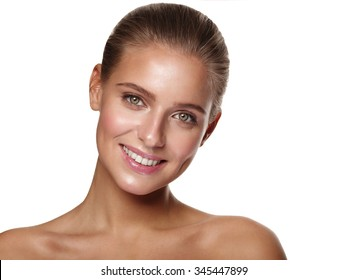Portrait of a young healthy and beautiful girl with nude make up