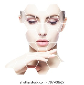Portrait of young, healthy and beautiful girl plastic surgery, skin lifting, spa, cosmetics and medicine concept