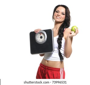 Portrait of young and healthy woman as dieting concept