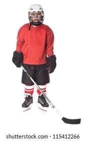 Portrait of young ice hockey player isolated