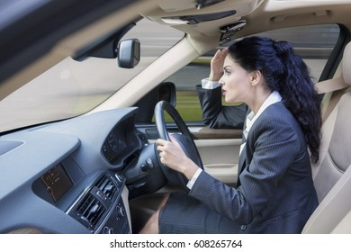 Portrait of a young Indian business woman driving a car