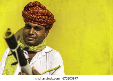 Portrait of a young Indian in the street of Jaipur, Rajasthan, India